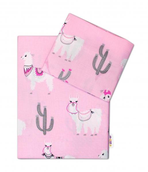 Baby Nellys 2-dielne bavlnené obliečky Lama - růžové