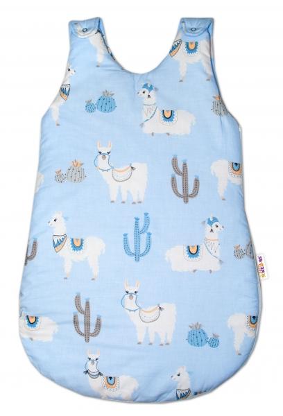 Baby Nellys Bavlněný spacie vak Lama - modrý