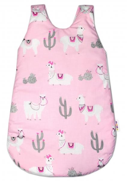 Bavlnený spací  vak Lama - růžový