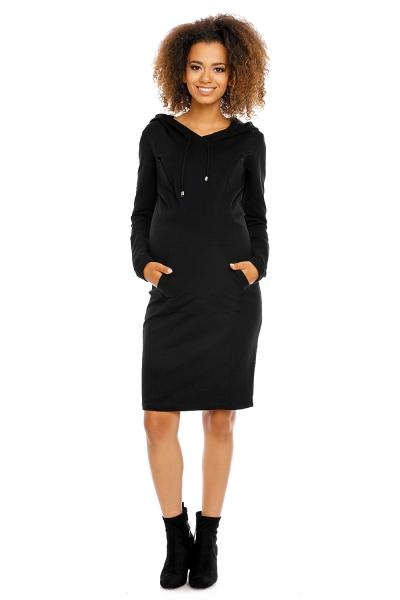 Tehotenské a dojčiace šaty s kapucňou, dl. rukáv -  čierne veľ.XL