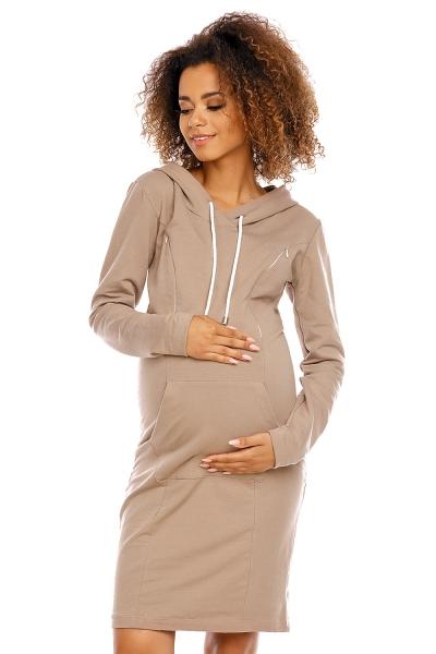 Tehotenské a dojčiace šaty s kapucňou, dl. rukáv -  cappuccino
