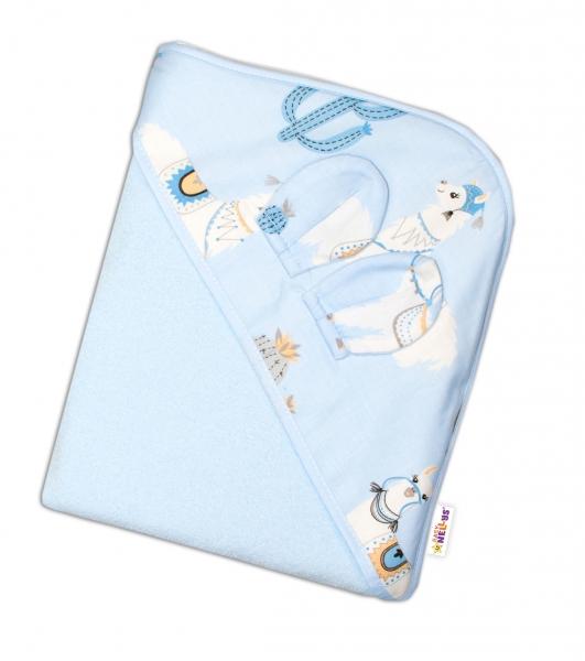 Baby Nellys Detská termoosuška s uškomi a kapucňou Lama, 100 x 100 cm  - modrá