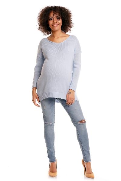 Pohodlný tehotenský  pulóver s rozparkami - sv. modrý