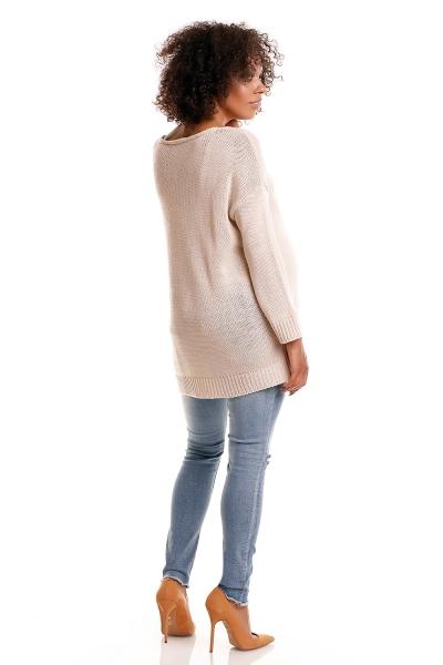 Pohodlný tehotenský pulóver s rozparkami - béžový