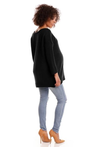 Pohodlný tehotenský  pulóver s rozparkami - čierny