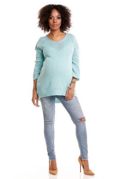 Pohodlný tehotenský  pulóver s rozparkami - mätový