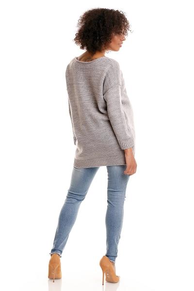 Pohodlný tehotenský  pulóver s rozparkami - sv. sivý