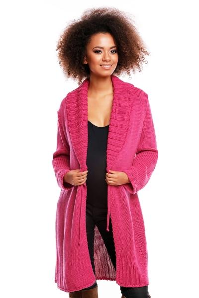 Dlhší tehotenský svetrík / kardigan s výrazným lemovaním - tm. ružový