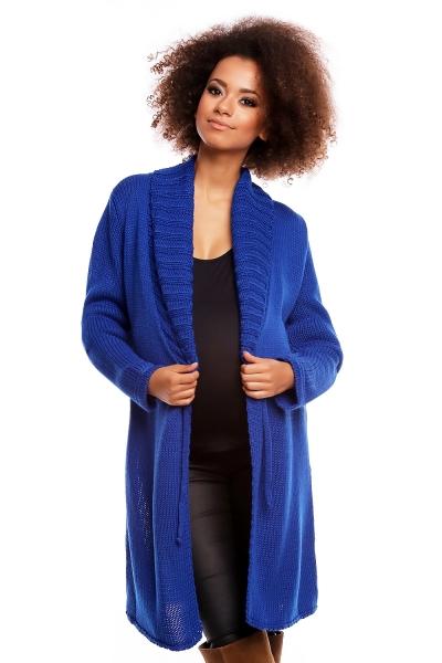 Dlhší tehotenský svetrík / kardigan s výrazným lemovaním - tm. modrý-UNI