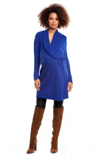 Dlhší tehotenský svetrík / kardigan s výrazným lemovaním - tm. modrý