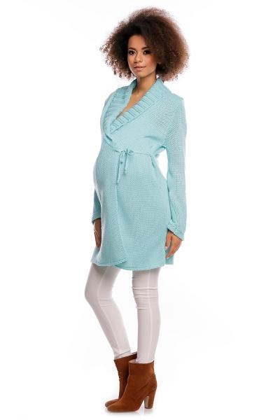 Dlhší tehotenský svetrík / kardigan s výrazným lemovaním - mätový