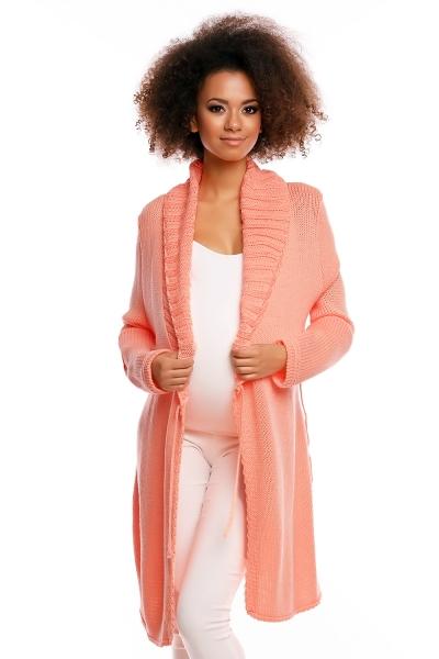 Dlhší tehotenský svetrík / kardigan s výrazným lemovaním - marhuľový-UNI
