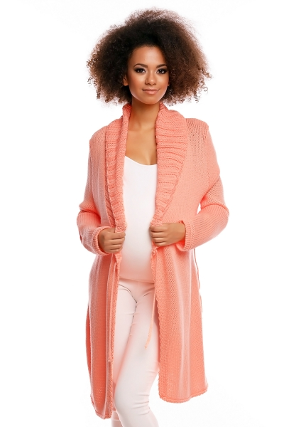 Be MaaMaa Dlhší tehotenský svetrík / kardigan s výrazným lemovaním - marhuľový-UNI