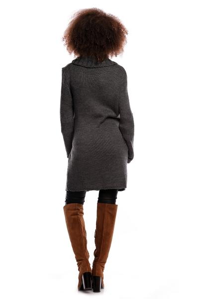 Dlhší tehotenský svetrík / kardigan s výrazným lemovaním - grafitový