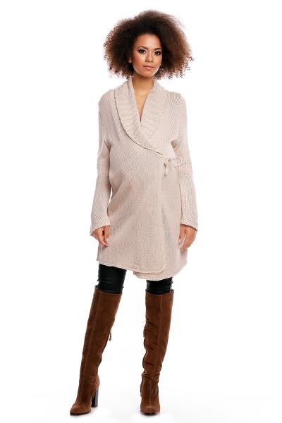 Dlhší tehotenský svetrík / kardigan s výrazným lemovaním - béžový