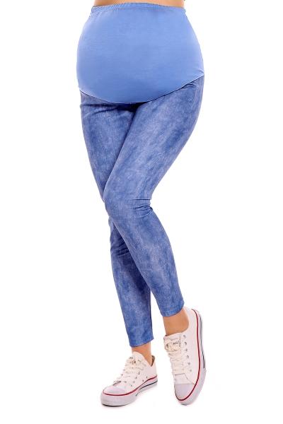 Be MaaMaa Těhotenské legíny - modré/žíhané, veľ. L/XL, B19