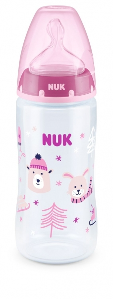 NUK Fľaštička First Choice Winter Wonderland 300 ml - ružová