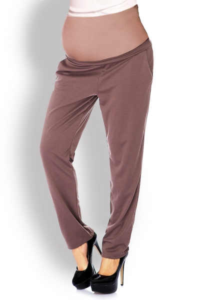 Tehotenské nohavice / tepláky s vysokým pásom - cappuccino