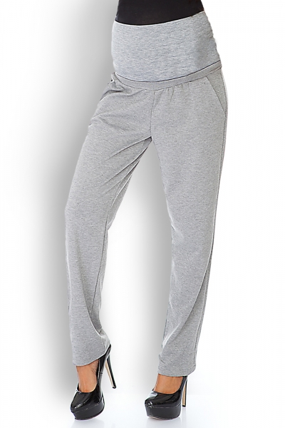 Tehotenské nohavice / tepláky s vysokým pásom - sv. sivé