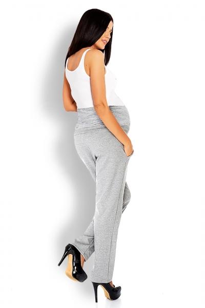 Be MaaMaa Tehotenské nohavice / tepláky s vysokým pásom - sv. sivé, veľ. L/XL