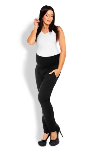 Be MaaMaa Tehotenské nohavice / tepláky s vysokým pásom -  čierne, veľ. L/XL