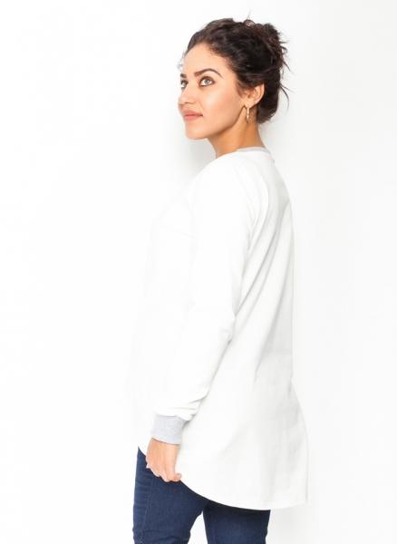 Tehotenské tričko/mikina dlhý rukáv Esti - biele