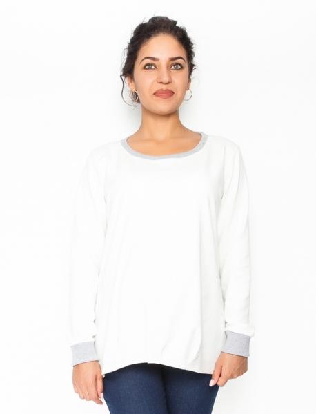 Be MaaMaa Tehotenské tričko/mikina dlhý rukáv Esti - biele, veľ. S