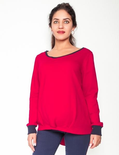 Be MaaMaa Tehotenské tričko/mikina dlhý rukáv Esti - červené, veľ. XL-XL (42)