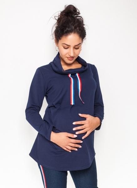 Be MaaMaa Tehotenské tričko /mikina so stojačikom Nova - granátovej, veľ. L
