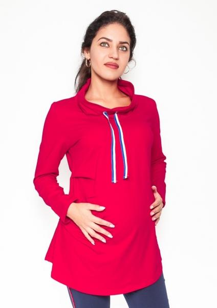 Tehotenské tričko / mikina so stojačikom Nova - červená, veľ. L-L (40)