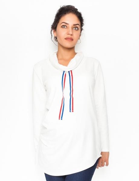 Tehotenské tričko / mikina so stojačikom Nova - biela veľ. L