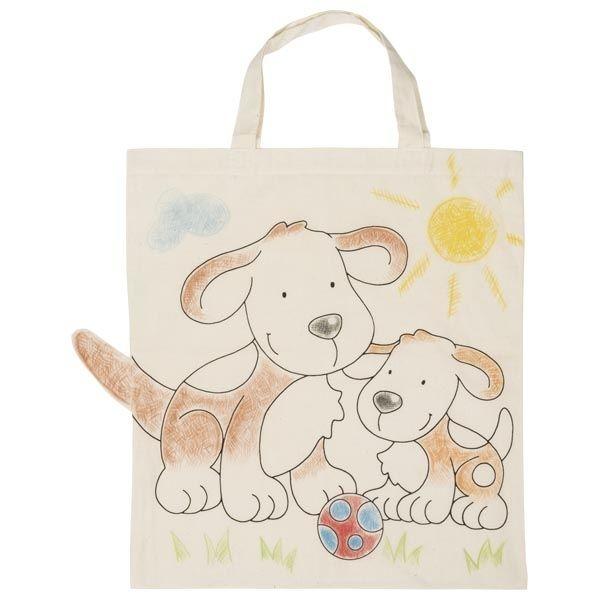 Goki Detská Eko bavlnená taška k vyfarbenie, 38x42cm - Psík