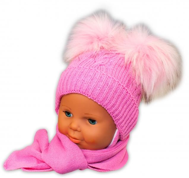 BABY NELLYS Zimná čiapočka s šálom - chlupáčkové bambuľky -  ružová-0/4měsíců