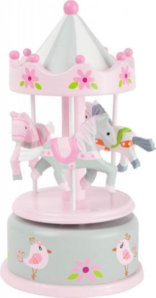 Drevená hracia skrínka - Kolotoč s koníčky