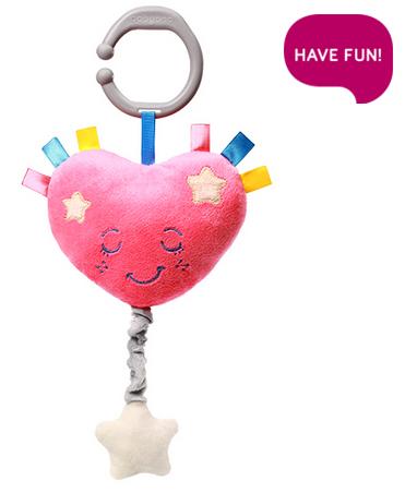 BabyOno Plyšové srdiečko s hracím strojčekom Lullaby Heart - ružové