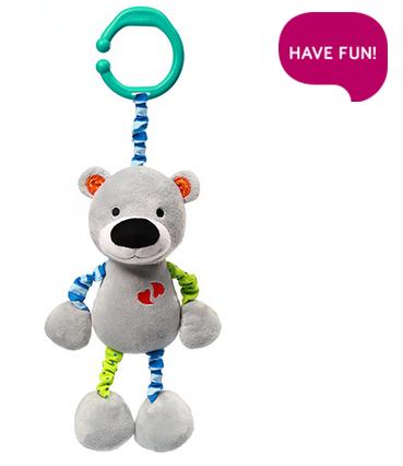 Závesná hračka s vibrácií a hrkálkou Bear Basil