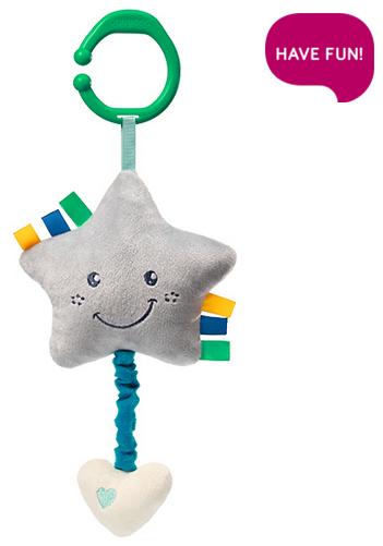 BabyOno Plyšová hviezdička s hracím strojčekom Lullaby Star - sivá