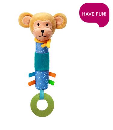 Plyšová hračka s pískátkem a hryzátkom Opička Eric