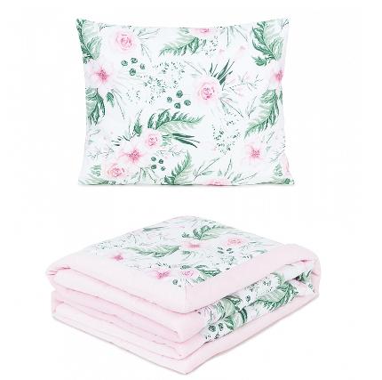 2-dielna sada obojstranná deka Velvet 75 x 100 cm s vankúšikom - Kvetiny/sv. ružová