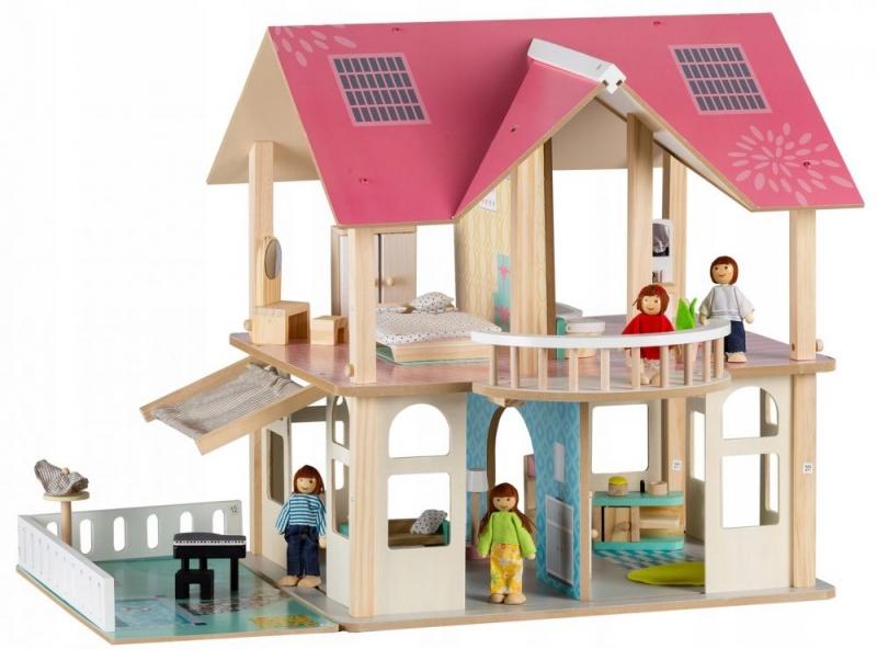 Eco toys Drevený domček pre bábiky s balkónom - Rezidence Modern