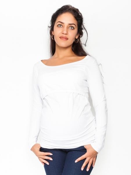 Be MaaMaa Tehotenské, dojčiace tričko / blúzka dlhý rukáv Siena - biela, veľ. L