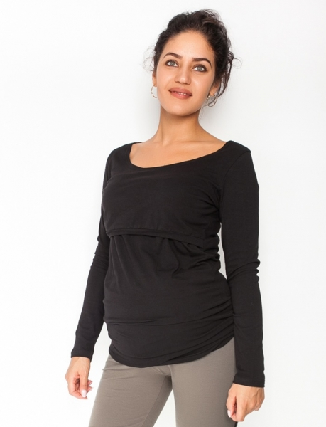 Be MaaMaa Tehotenské, dojčiace tričko / blúzka dlhý rukáv Siena - čierne, veľ. L