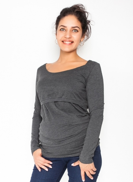 Be MaaMaa Tehotenské, dojčiace tričko / blúzka dlhý rukáv Siena - grafitové, veľ. XL