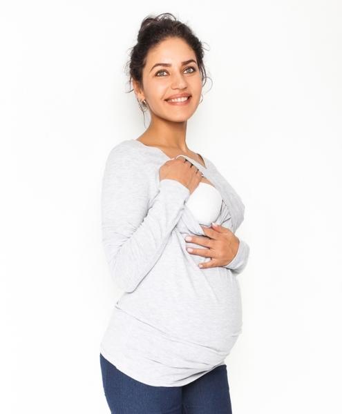 Tehotenské, dojčiace tričko / blúzka dlhý rukáv Siena - sv. sivé