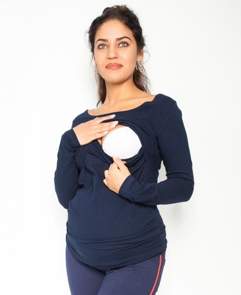 Tehotenské, dojčiace tričko / blúzka dlhý rukáv Siena - granátové