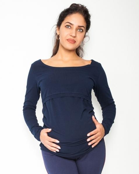 Be MaaMaa Tehotenské, dojčiace tričko / blúzka dlhý rukáv Siena - granátové, veľ. L