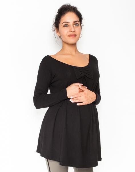 Volná tehotenská blúzka / tunika dlhý rukáv Aria - čierna