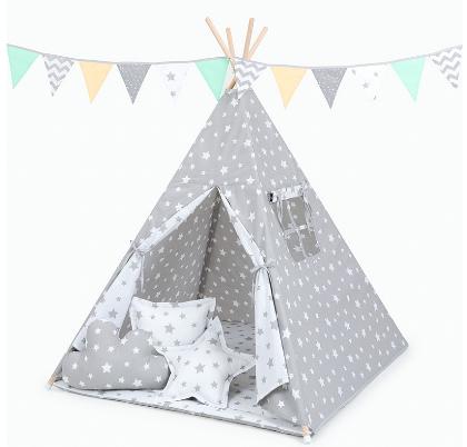 Stan pre deti teepee, típí s výbavou - Hvezdy biele na sivé/hviezdy sivé na bielej