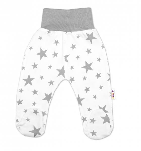 Bavlnené dojčenské polodupačky Baby Nellys ® - biele, hviezdičky - šedé, veľ. 74-74 (6-9m)