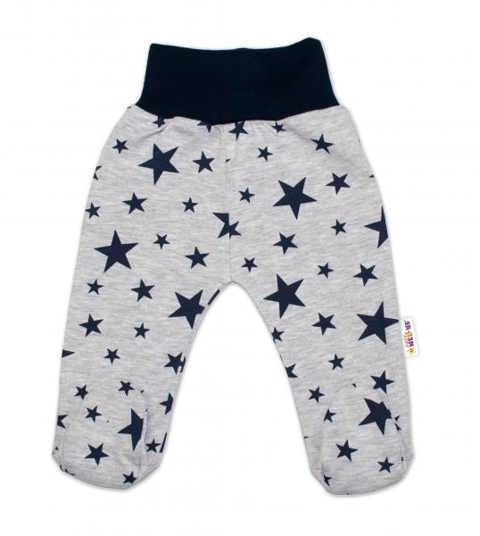 Bavlnené dojčenské polodupačky Baby Nellys ® - sivé, hviezdičky - granátové, veľ. 62-62 (2-3m)